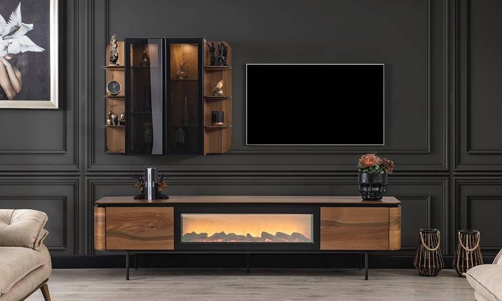 Alf Şömineli Modern Tv Ünitesi