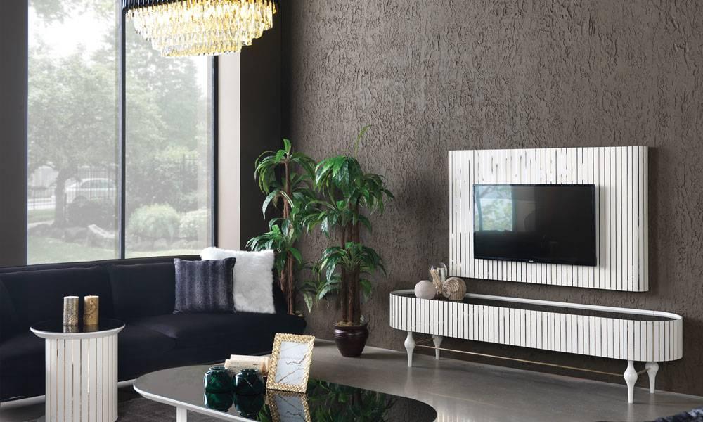 Alyans Beyaz Modern Tv Ünitesi