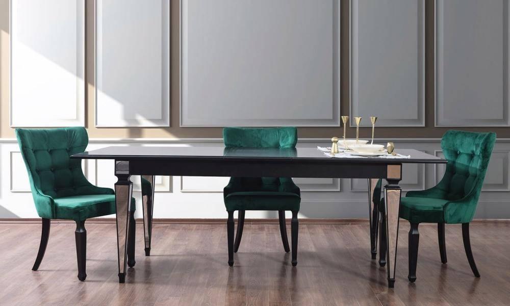 Bianco Siyah Art Deco Yemek Odası Takımı