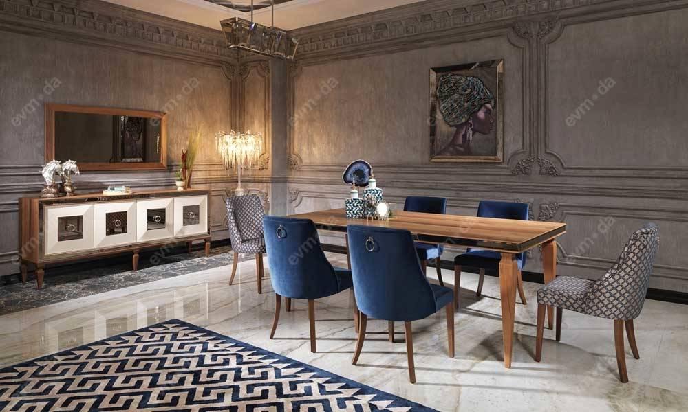 Bugatti Ceviz Art Deco Yemek Odası Takımı