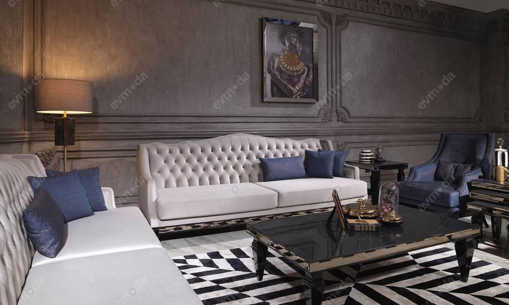 Bugatti Siyah Art Deco Koltuk Takımı