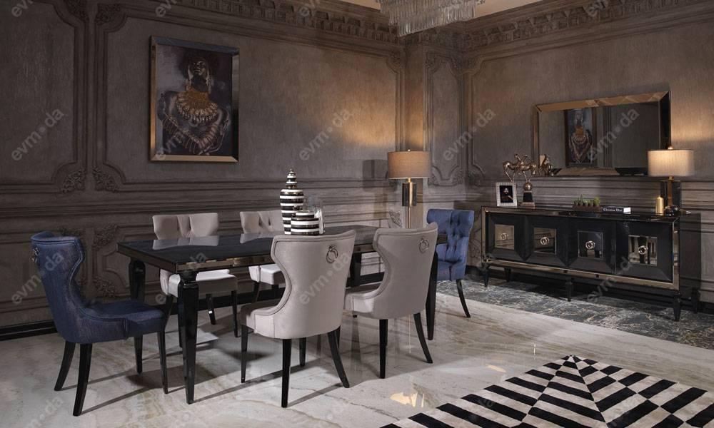 Bugatti Siyah Art Deco Yemek Odası Takımı