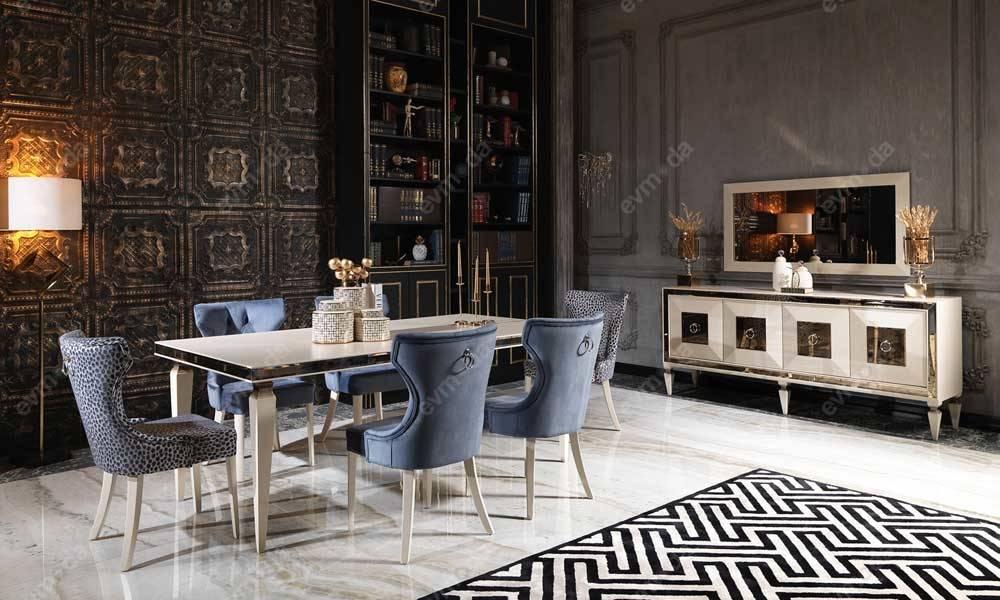 Bugatti Krem Art Deco Yemek Odası Takımı