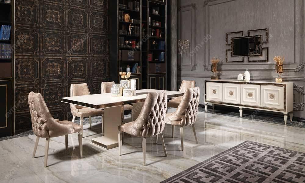 Carmen Krem Art Deco Yemek Odası Takımı