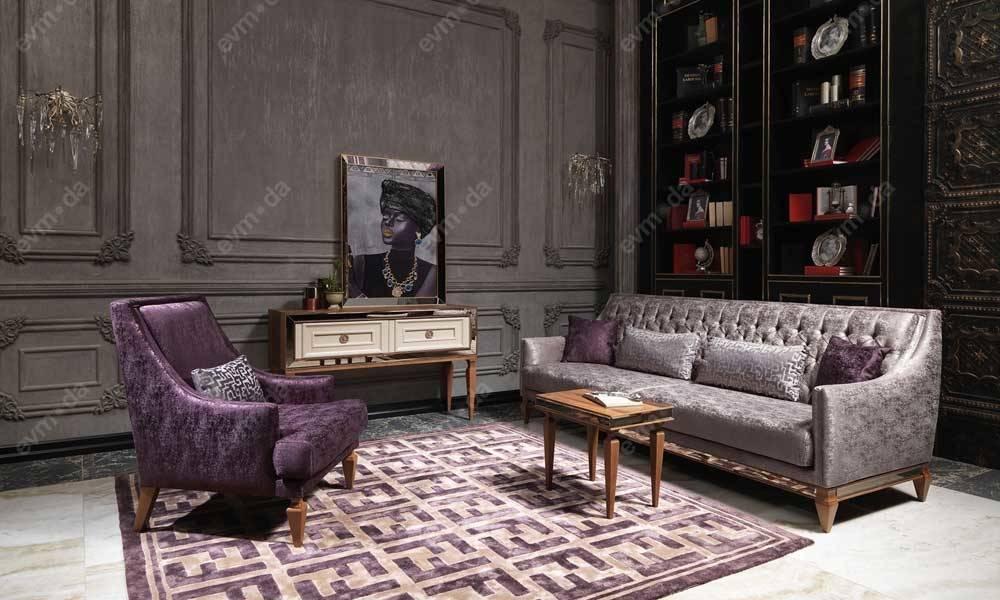 Carmen Ceviz Krem Art Deco Koltuk Takımı