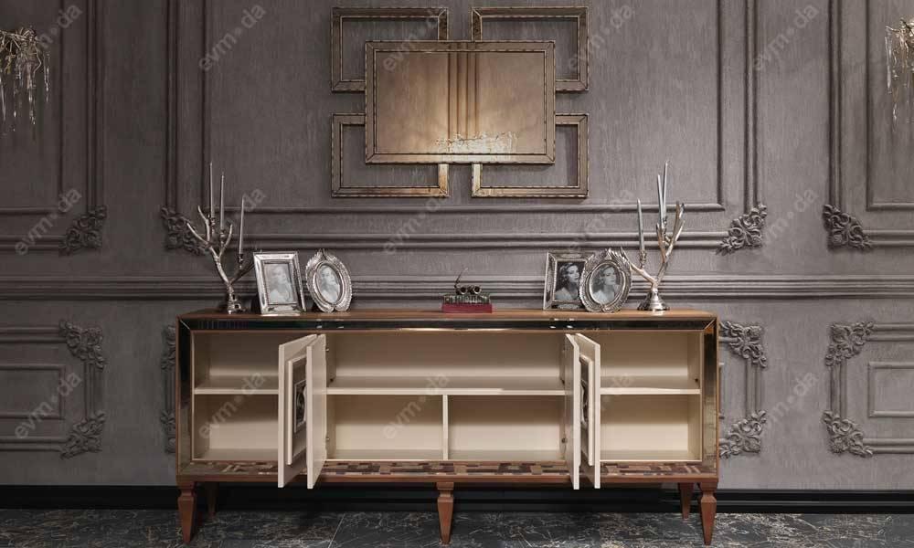 Carmen Ceviz Krem Art Deco Yemek Odası Takımı
