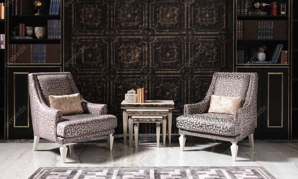 Carmen Krem Art Deco Koltuk Takımı