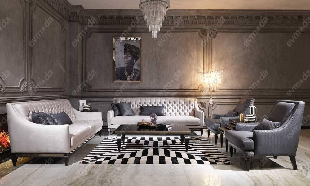 Carmen Siyah Art Deco Koltuk Takımı