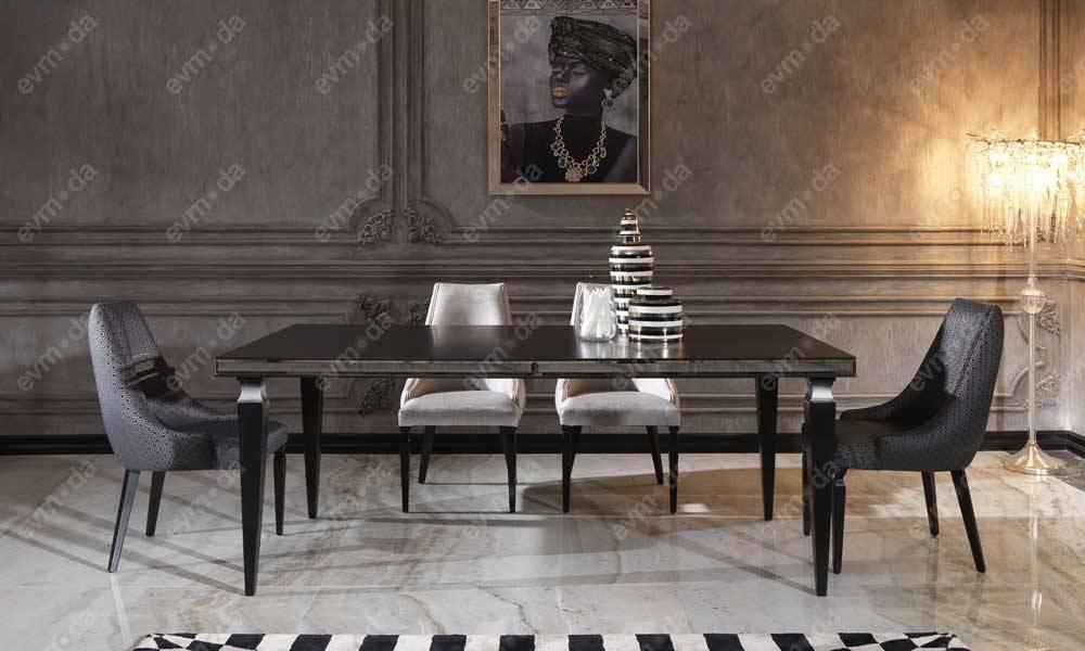 Carmen Siyah Art Deco Yemek Odası Takımı