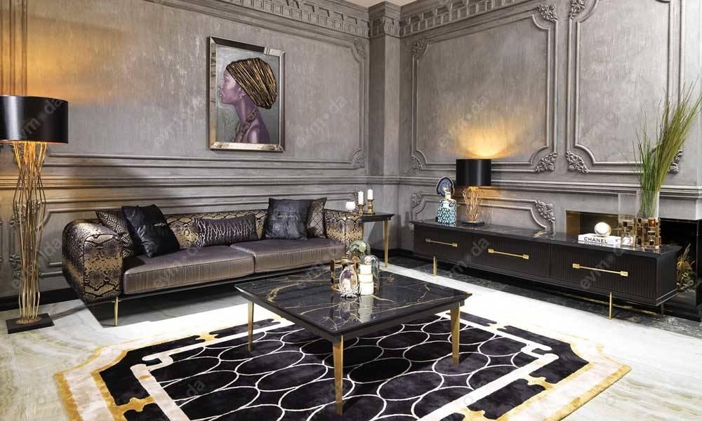 Cavalli Siyah Art Deco Tv Ünitesi