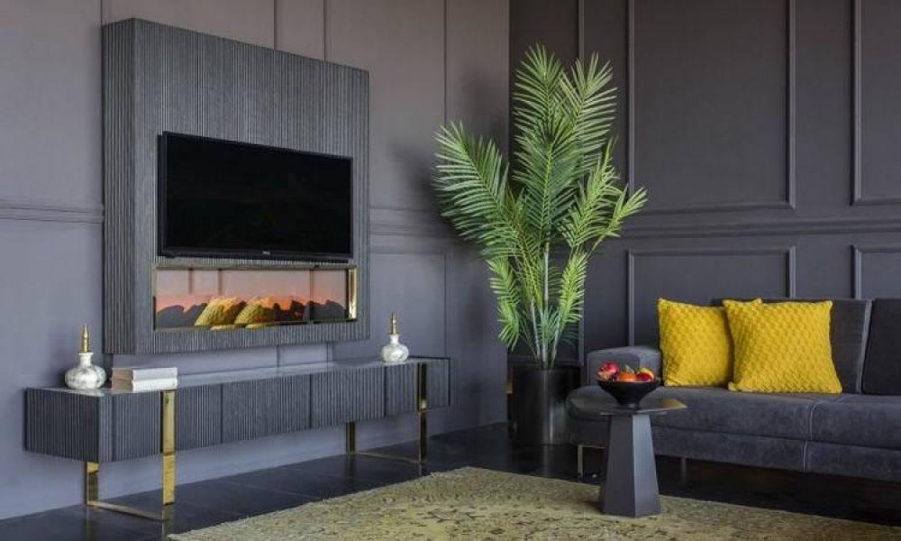 Elegante Şömineli Modern Tv Ünitesi