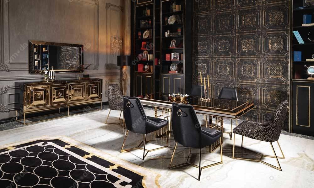 Gucci Black Gold Yemek Odası Takımı