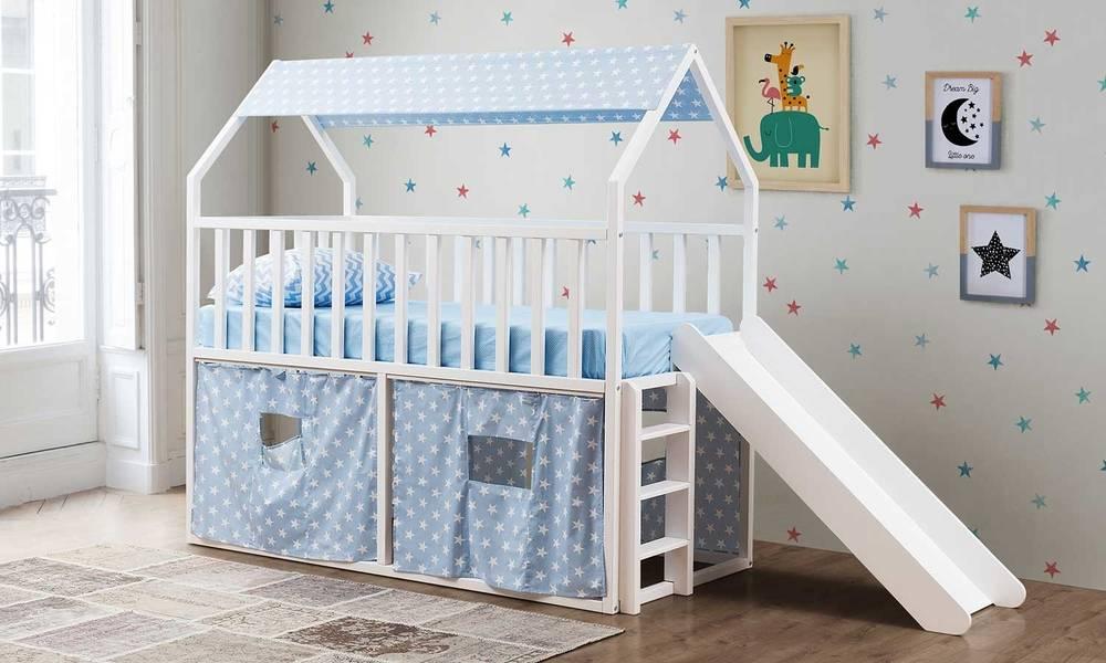 Montessori Oyun Evi Kaydıraklı Mavi