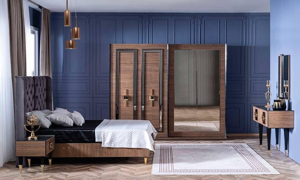 Paris Ceviz Art Deco Yatak Odası Takımı