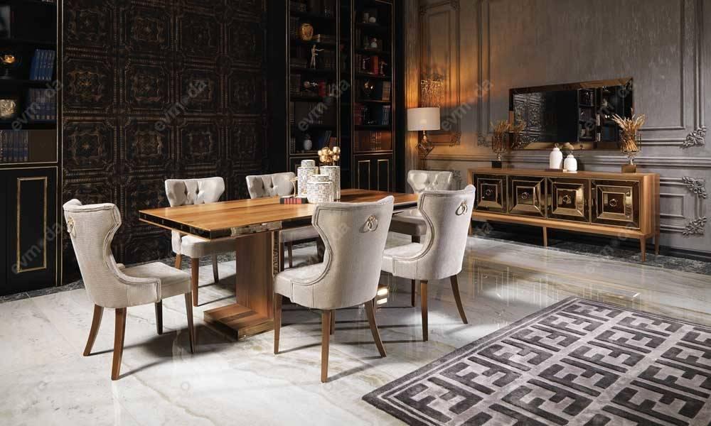 Versace Ceviz Yemek Odası Takımı