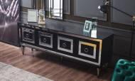 Bianco Siyah Art Deco Yemek Odası Takımı - Thumbnail