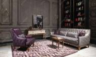 Carmen Ceviz Krem Art Deco Koltuk Takımı - Thumbnail