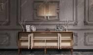 Carmen Ceviz Krem Art Deco Yemek Odası Takımı - Thumbnail