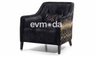 Cavalli Siyah Art Deco Berjer - Thumbnail