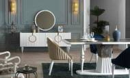 Lora Beyaz Modern Yemek Odası Takımı - Thumbnail
