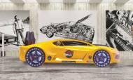 Moon Full Sarı Araba Karyola - Thumbnail