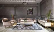 Nepal Krem Art Deco Tv Ünitesi - Thumbnail
