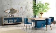 Oslo Mavi Modern Yemek Odası Takımı - Thumbnail