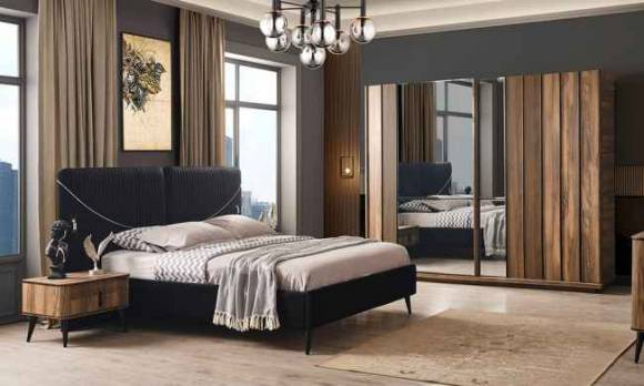 Evmoda Mobilya - Alaska Ceviz Modern Yatak Odası Takımı
