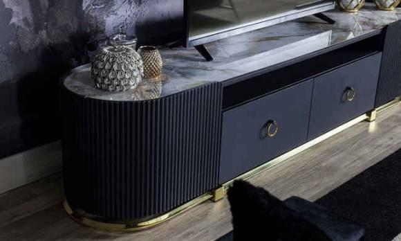 Evmoda Mobilya - Bella Black Art Deco Tv Ünitesi (1)