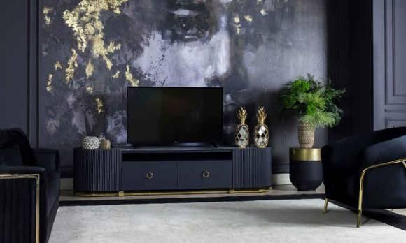 Evmoda Mobilya - Bella Black Art Deco Tv Ünitesi