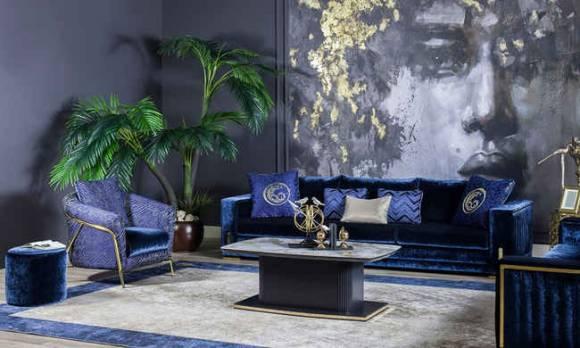 Evmoda Mobilya - Bella Gold Art Deco Koltuk Takımı