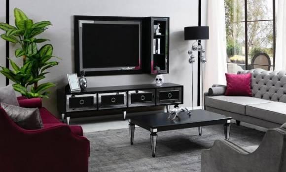 Evmoda Mobilya - Bianco Siyah Art Deco Tv Ünitesi