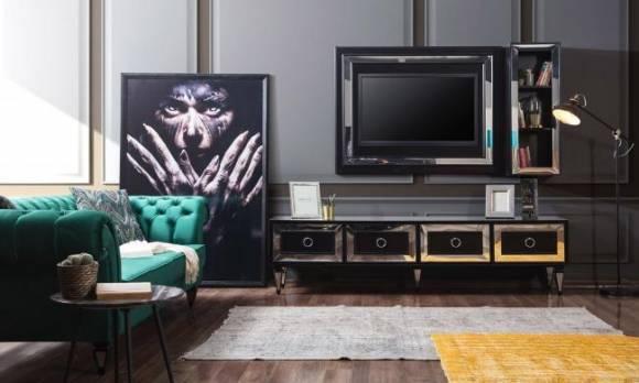 Evmoda Mobilya - Bianco Siyah Art Deco Tv Ünitesi (1)