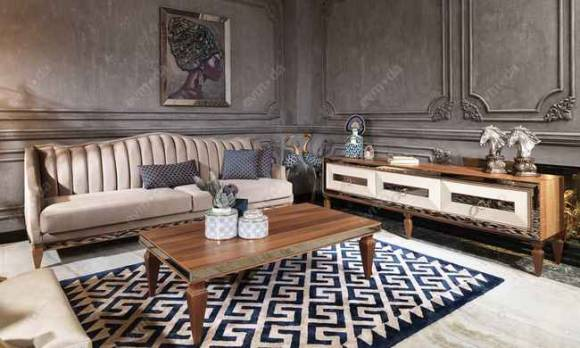 Evmoda Mobilya - Bugatti Ceviz Art Deco Tv Ünitesi