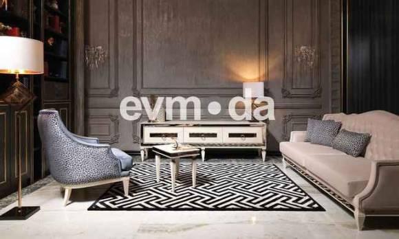 Evmoda Mobilya - Bugatti Krem Art Deco Tv Ünitesi (1)