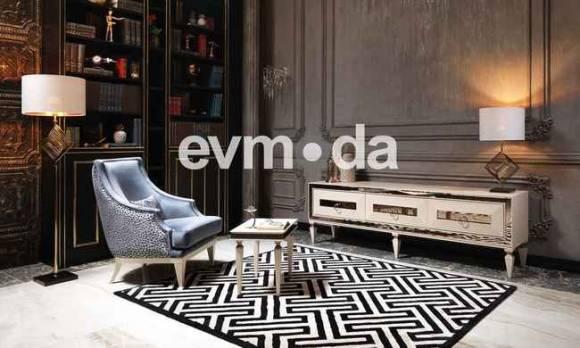 Evmoda Mobilya - Bugatti Krem Art Deco Tv Ünitesi