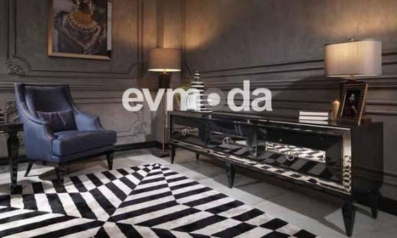 Evmoda Mobilya - Bugatti Siyah Art Deco Tv Ünitesi