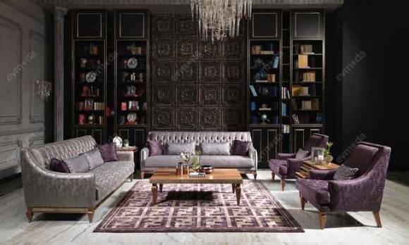 Evmoda Mobilya - Carmen Ceviz Krem Art Deco Koltuk Takımı