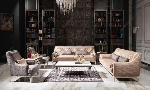 Evmoda Mobilya - Carmen Krem Art Deco Koltuk Takımı
