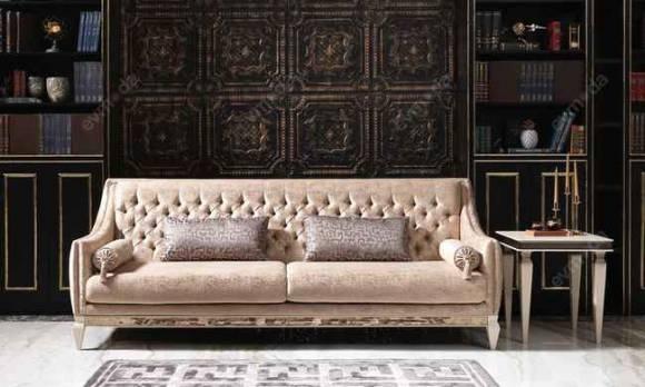 Evmoda Mobilya - Carmen Krem Art Deco Koltuk Takımı (1)