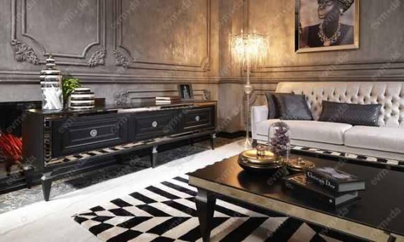 Evmoda Mobilya - Carmen Siyah Art Deco Tv Ünitesi