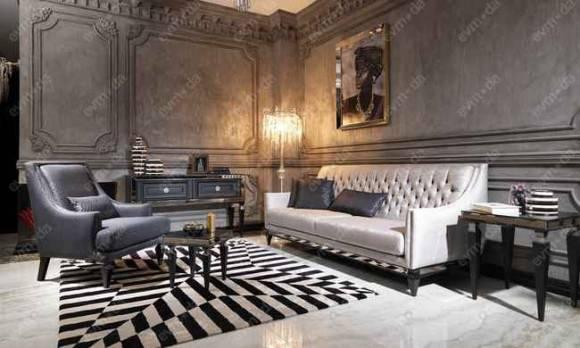 Evmoda Mobilya - Carmen Siyah Art Deco Koltuk Takımı (1)