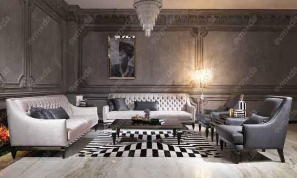 Evmoda Mobilya - Carmen Siyah Art Deco Koltuk Takımı