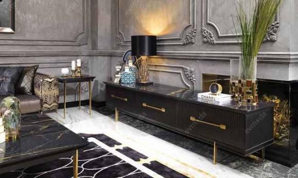 Evmoda Mobilya - Cavalli Siyah Art Deco Tv Ünitesi