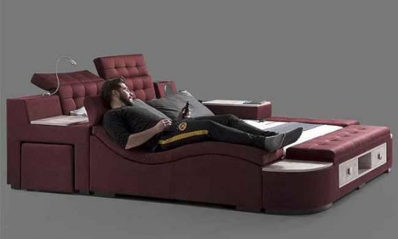 Evmoda Mobilya - Dream Masajlı Bordo Modern Karyola