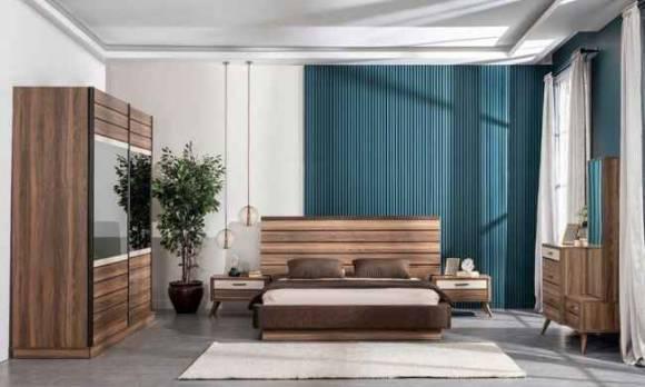 Evmoda Mobilya - Eti Ceviz Modern Yatak Odası Takımı