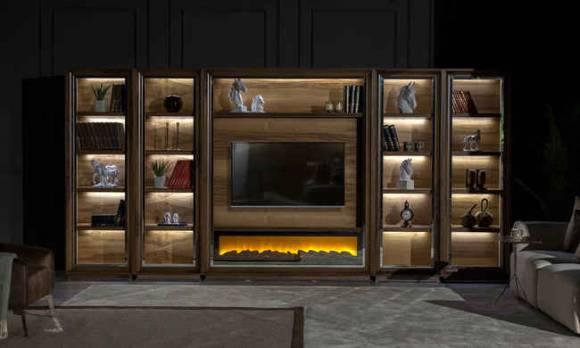 Evmoda Mobilya - Genona Şömineli Modern Tv Ünitesi Kitaplık (1)