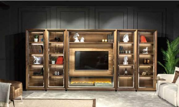 Evmoda Mobilya - Genona Şömineli Modern Tv Ünitesi Kitaplık