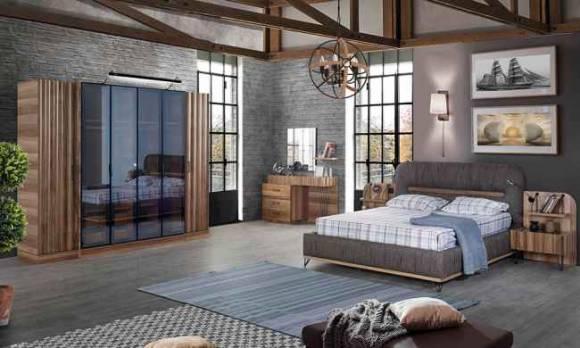 Evmoda Mobilya - Gizela Ceviz Modern Yatak Odası Takımı