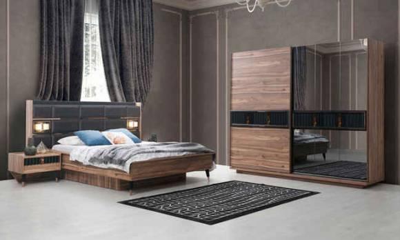 Evmoda Mobilya - Greco Ceviz Modern Yatak Odası Takımı